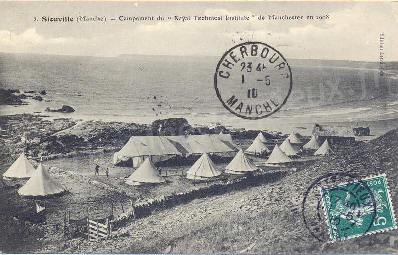 "Siouville (Manche) - Campement du ""Royal Technical Institute"" de Manchester en 1908"